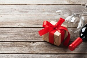 Red wine and gift box